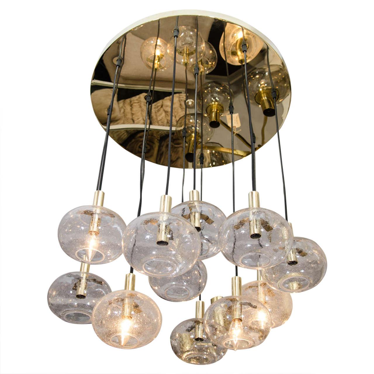 Custom Twelve-Globe Chandelier with Brass Canopy