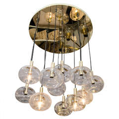 Custom Twelve-Globe Chandelier with Brass Canopy