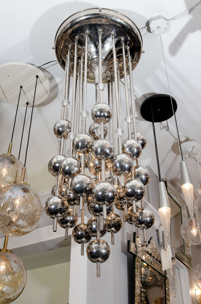 1970s Verner Panton Chrome and Glass Chandelier For Sale 1