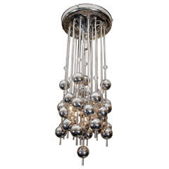 1970s Verner Panton Chrome and Glass Chandelier