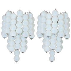 Pair of 1960s Mazzega Opaline Murano Glass Ball Sconces