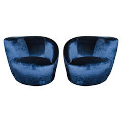 Pair of 1970s Vladimir Kagan Asymmetrical Swivel Chairs