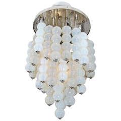 Mazzega Opaline Murano Glass Ball Chandelier