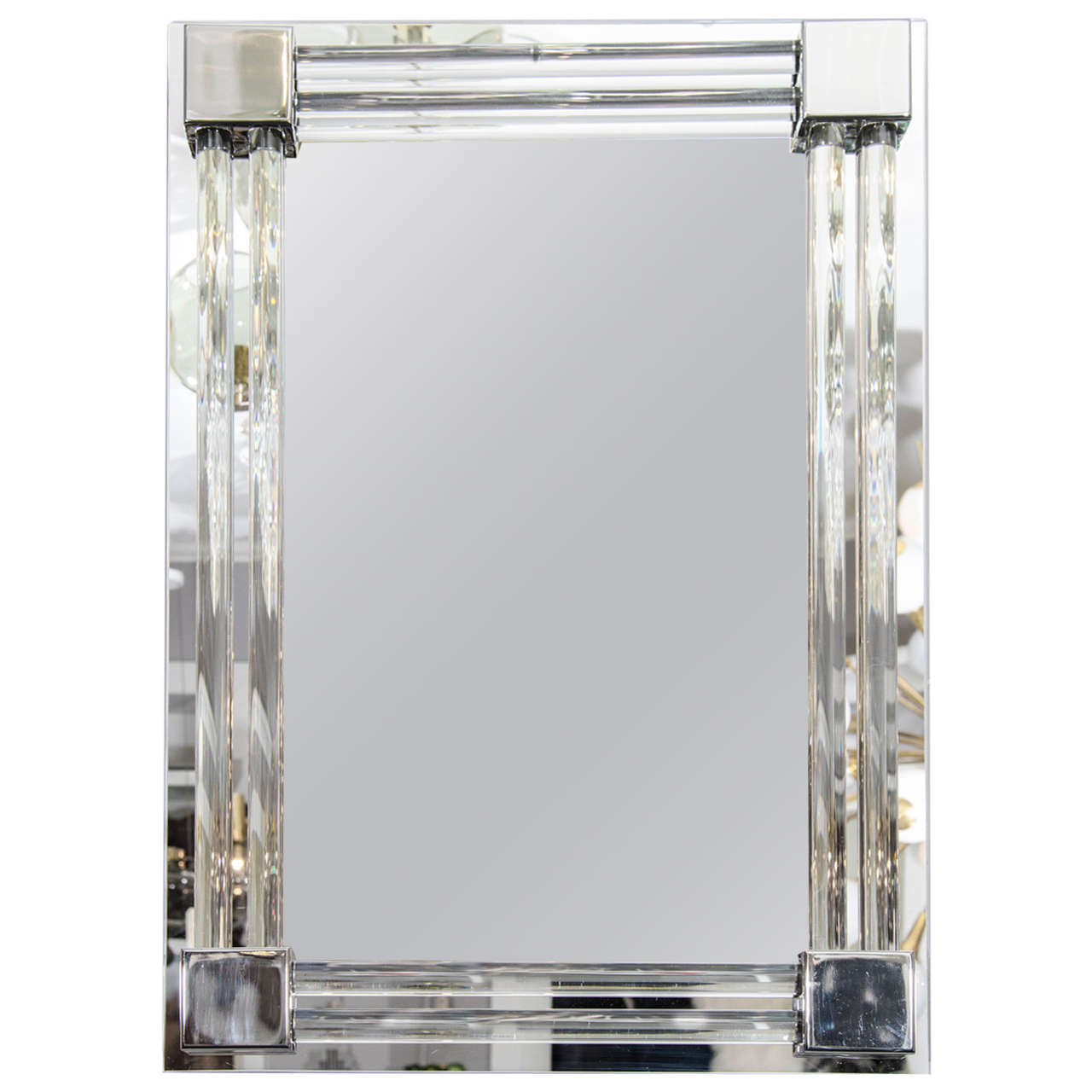 custom glass and rod polished nickel tubular mirror for