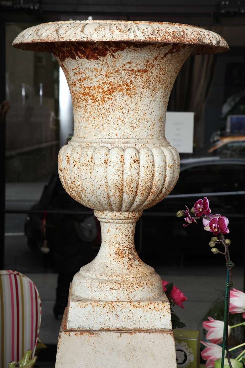 Antique Neoclassical Cast Iron Urn on pedestal c.1800 3