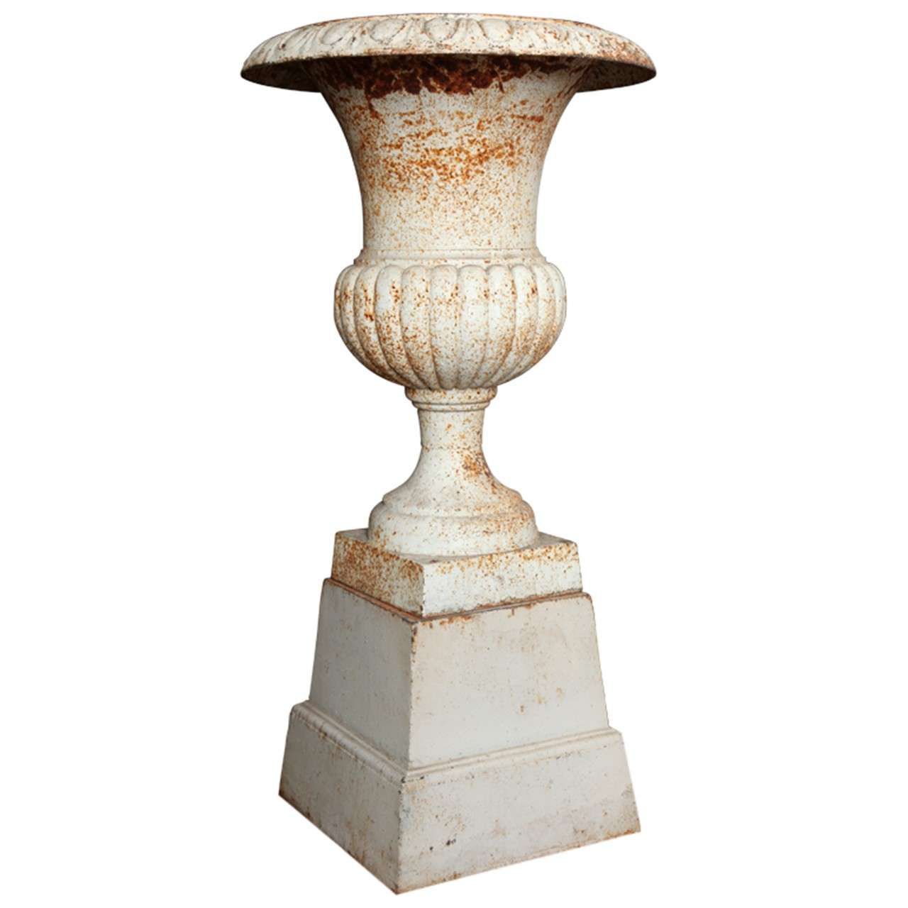 Antique Neoclassical Cast Iron Urn on pedestal c.1800