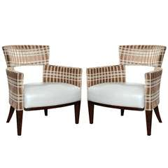 Pair of Mid Century Modern Open Back Armchairs c.1960