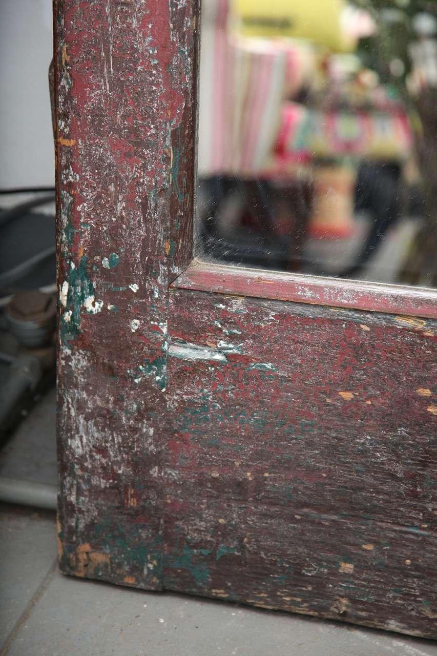 Antique American Craftsman Oak Wood Mirror Door C 1910 At