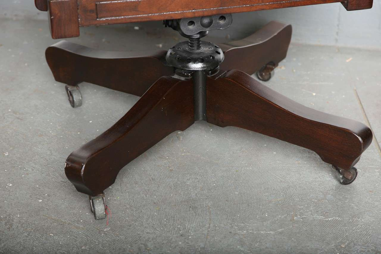 Antique Classic Swivel Desk Leather Armchair With Casters Image 3