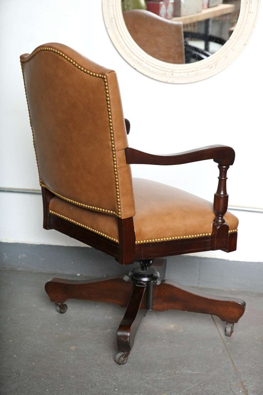 Antique Classic Swivel Desk Leather Armchair With Casters At 1stdibs