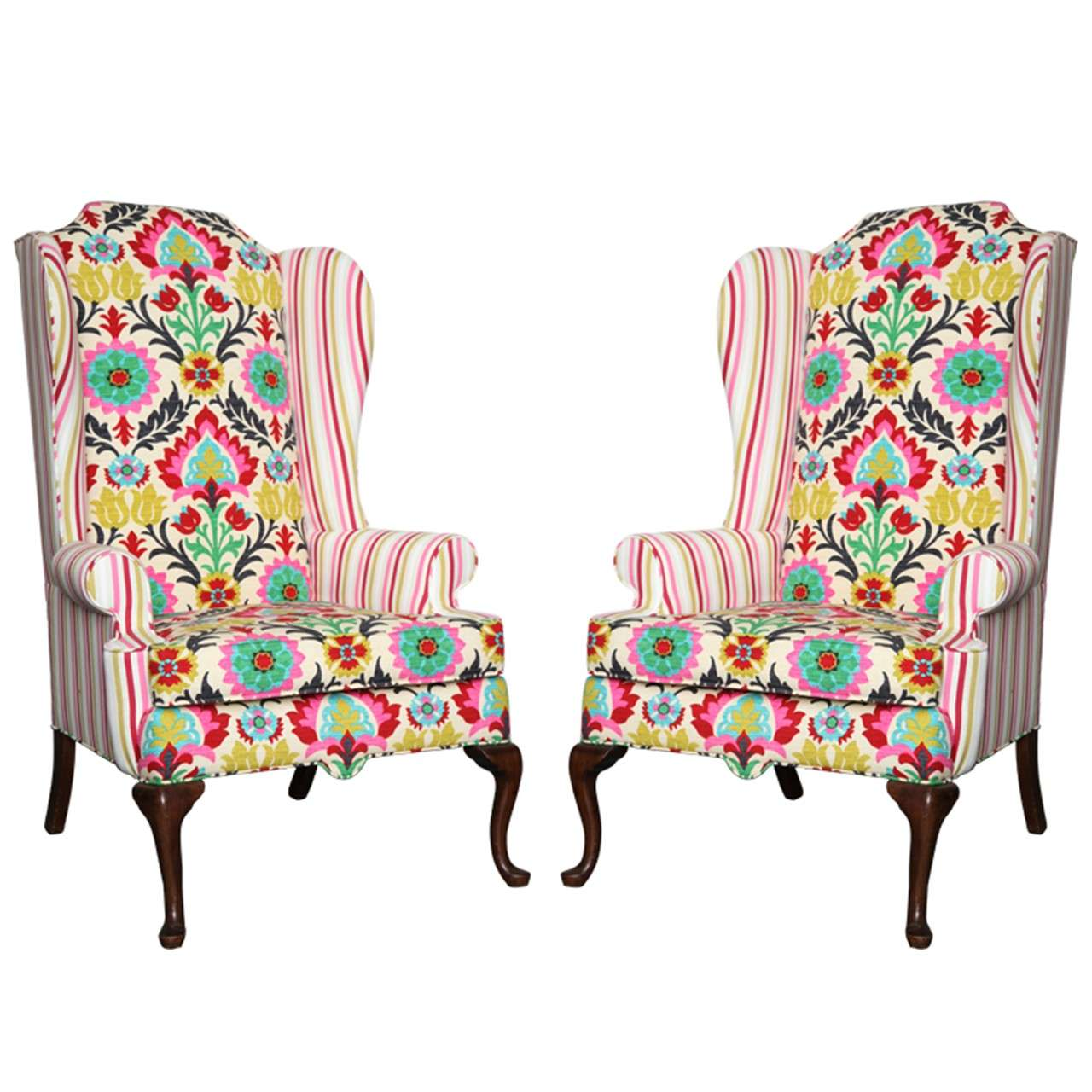 Pair of American Drexel Queen Anne Wingback Chairs c 1960