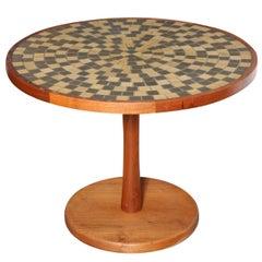 Jane and Gordon Martz Marshall Studios Walnut & Tile Pedestal Table, C. 1960