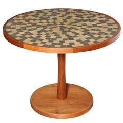 Jane and Gordon Martz Walnut and Earthen Round Ceramic Tile Top Table, C. 1960