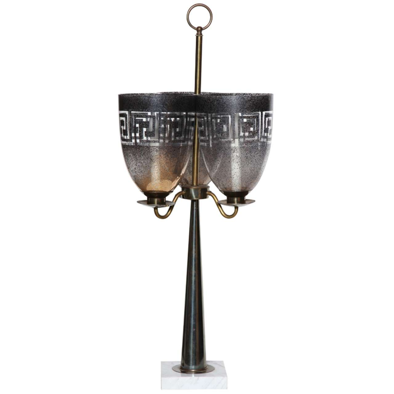 Stiffel Triple Shade Greek Key Hurricane Lamp with Brass and Marble, 1950s