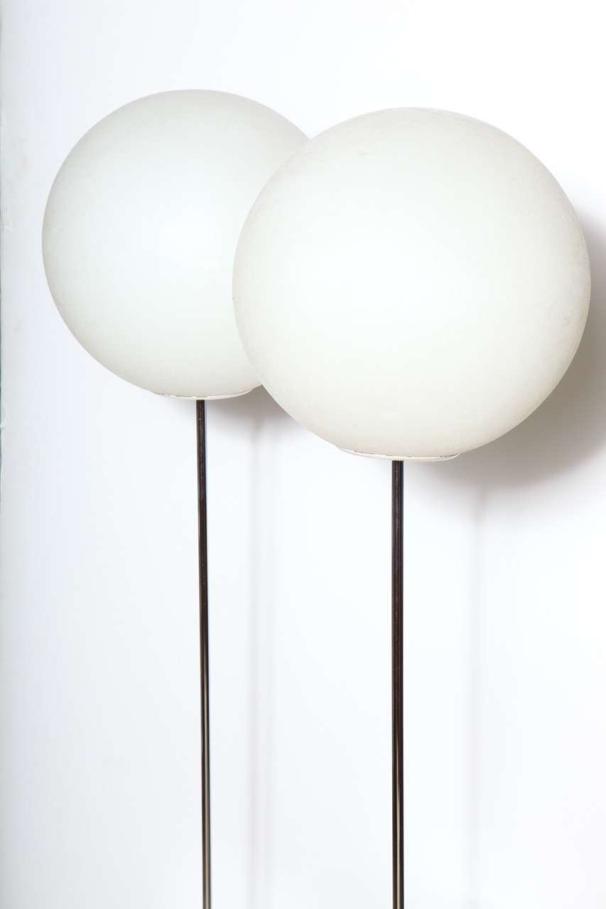 Pair of 1960s Neal Small Chrome and White Polypropylene Globe Floor Lamps In Good Condition In Bainbridge, NY