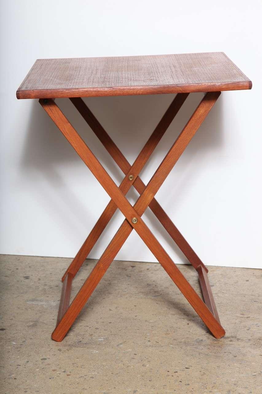 1960s Set of Four Scandinavian Modern Teak Folding Tray Tables by
