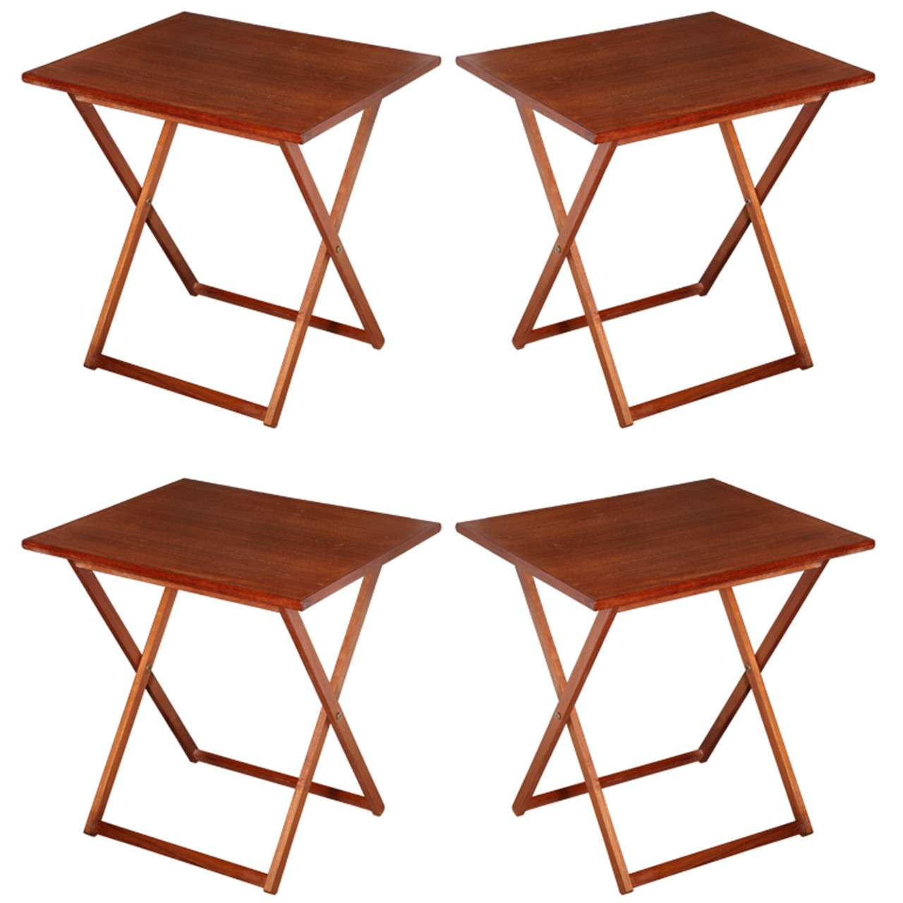 Set of Four Kalmar Solid Teak Scandinavian Modern Folding Tray Tables, 1960s