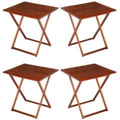 Set of Four Kalmar Scandinavian Modern Solid Teak Folding Tray Tables, 1960s