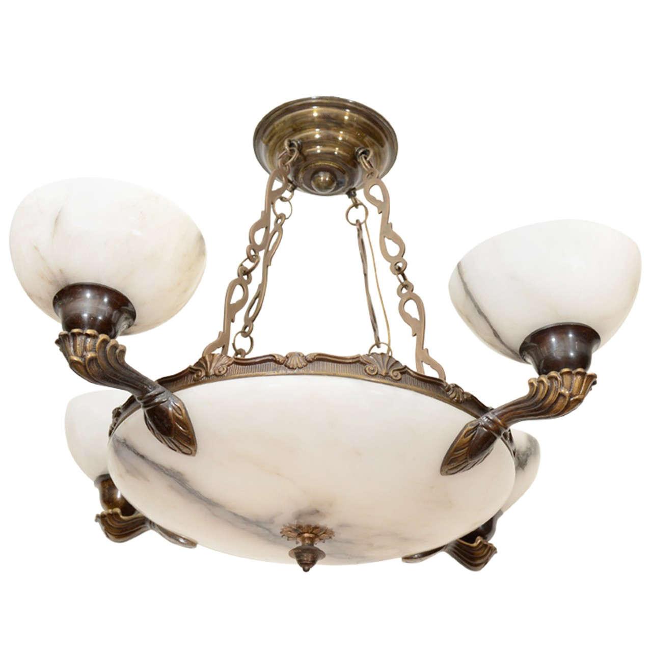 Alabaster Light Fixture For Sale