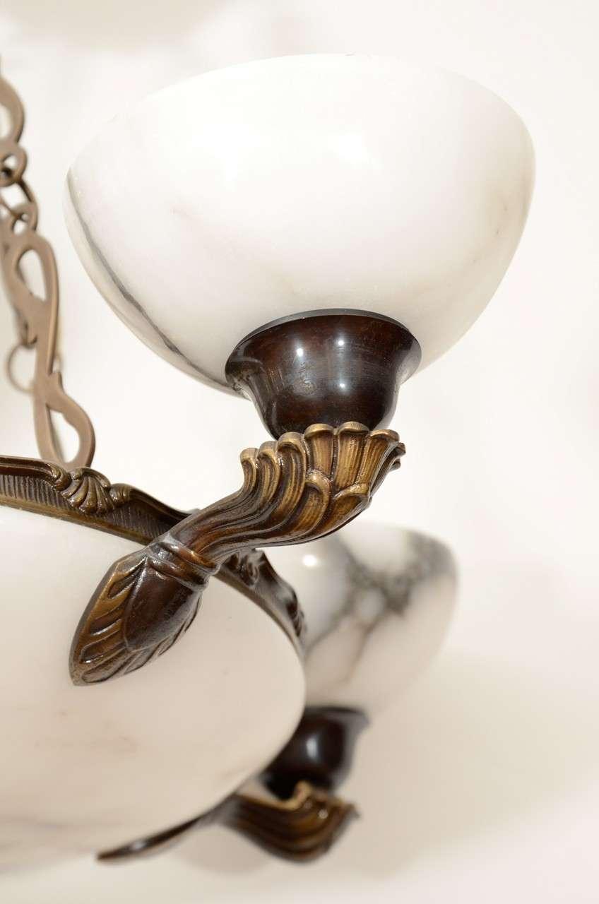 Art Deco Alabaster Light Fixture For Sale