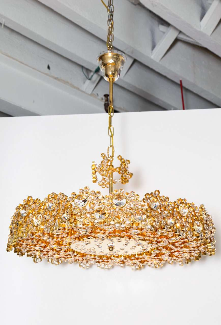 Austrian JewelLike GoldPlated Brass And Crystal Chandelier S - Chandelier jewels crystals