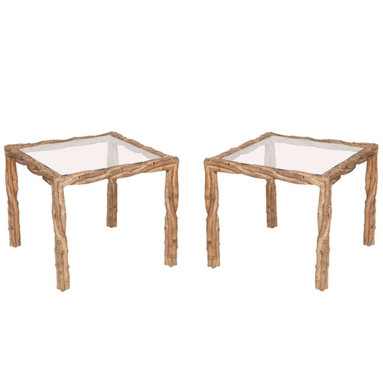 "Pair of Carved ""Faux Bois"" Mid-Century Side Tables, circa 1970"