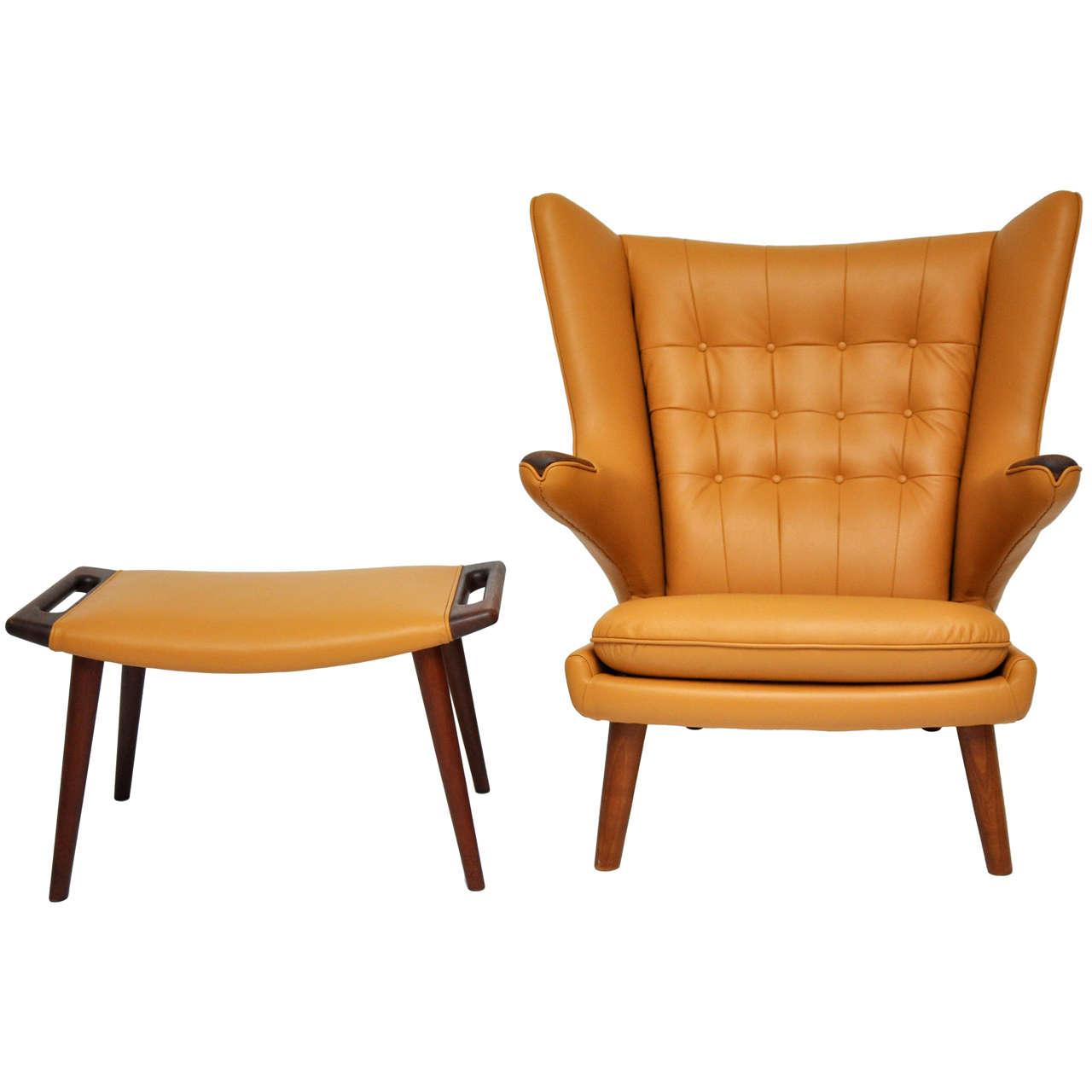 Phenomenal Hans Wegner Papa Bear Chair And Ottoman At 1Stdibs Ibusinesslaw Wood Chair Design Ideas Ibusinesslaworg