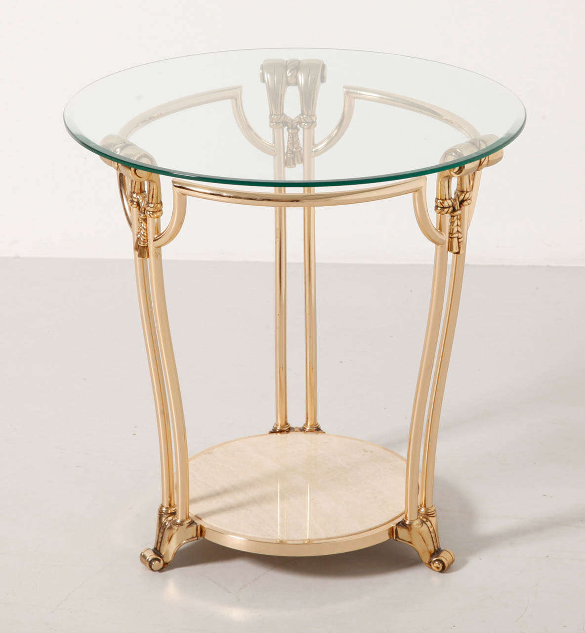 Gilded Brass Coffee Side Table With Round Glass Top Italy