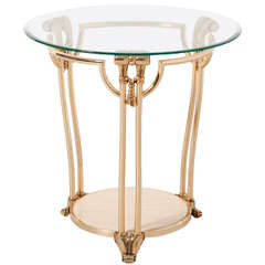 Gilded Brass Coffee/side Table with round glass top,Italy,1970's