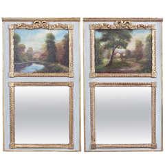 Pair of Louis XVI Painted Trumeau Mirrors