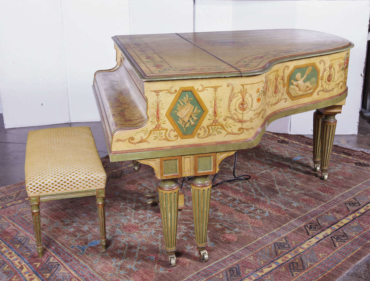 """Painted Baby Grand """"Gaveau"""" Piano  with Player (1911-1912) 2"""