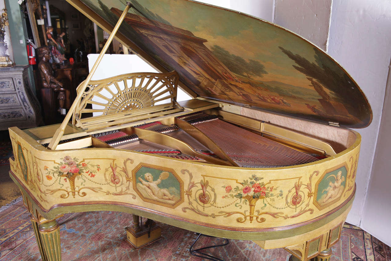 """Painted Baby Grand """"Gaveau"""" Piano  with Player (1911-1912) 4"""