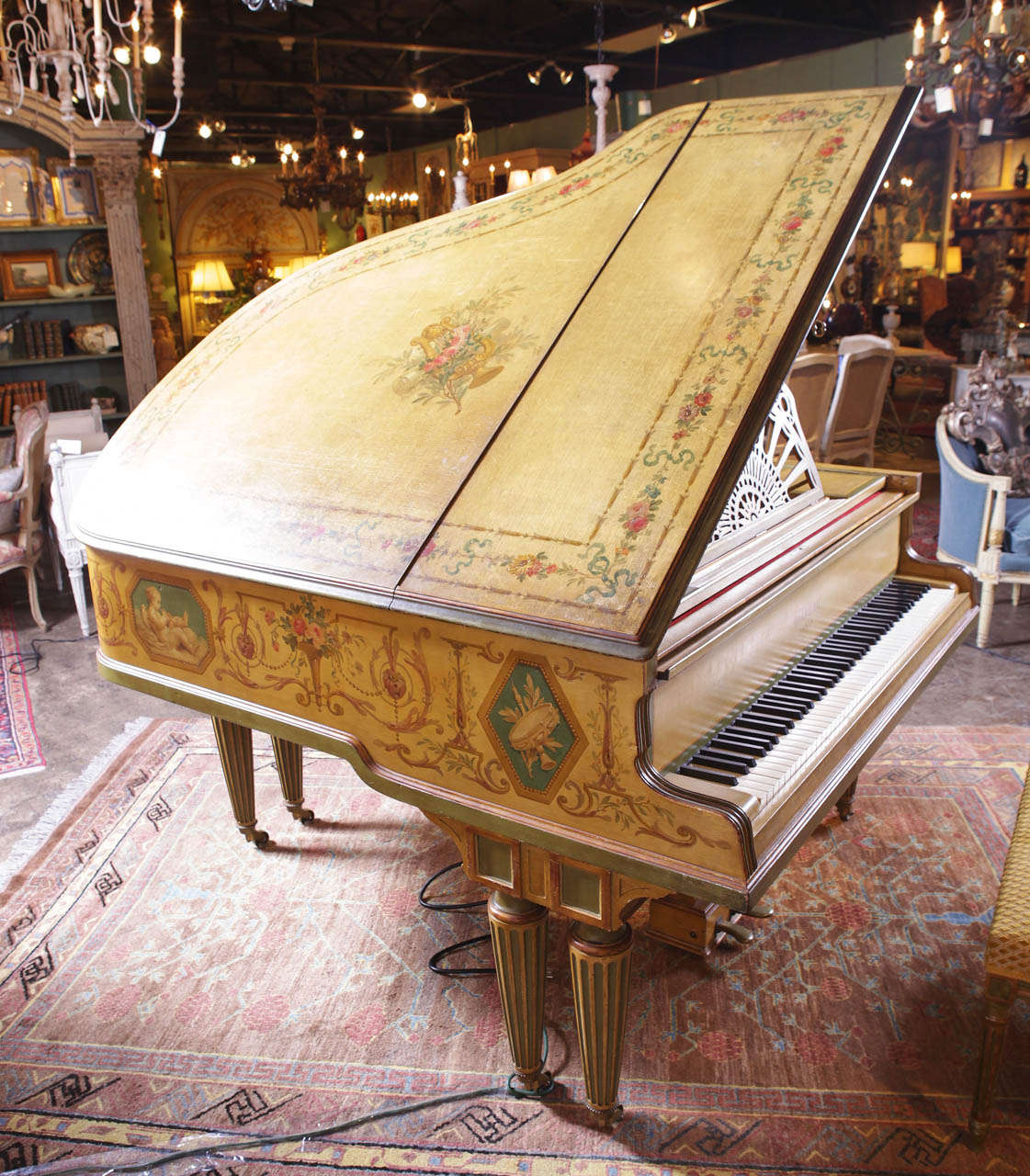 """Painted Baby Grand """"Gaveau"""" Piano  with Player (1911-1912) 8"""