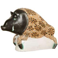 Enameled Ceramic Wild Boar by Primavera, 1930s