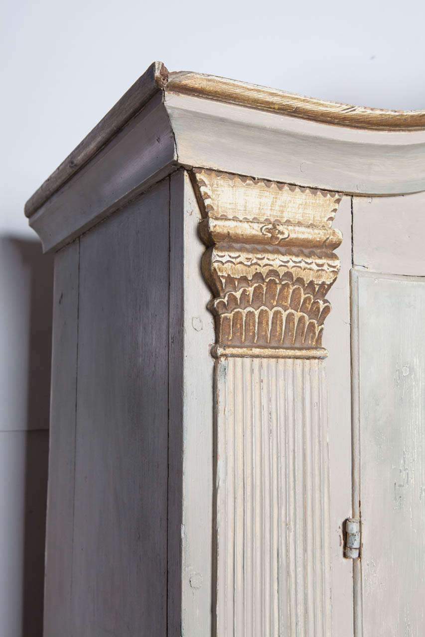 19th Century Continental Painted and Gilt Armoire In Fair Condition For Sale In Nashville, TN