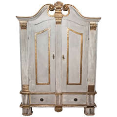 19th Century Continental Painted and Gilt Armoire