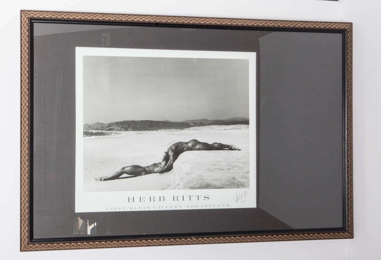 Signed Herb Ritts 1995.  Poster designed for Ritt's exhibition at the Fahey-Klein Gallery, Los Angeles.  Image size:  25