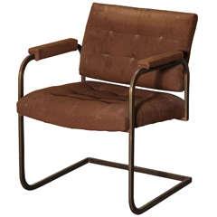 Vintage Brno Style Armchair in Bronzed Steel