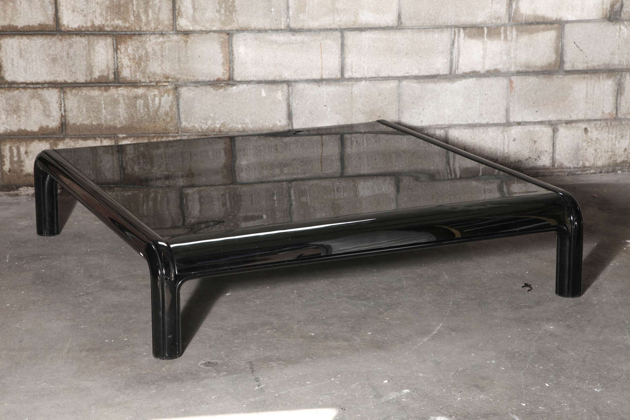 Gae Aulenti For Knoll Coffee Table Large Low In Black Enameled Steel With Smoked Glass Top From The 1976