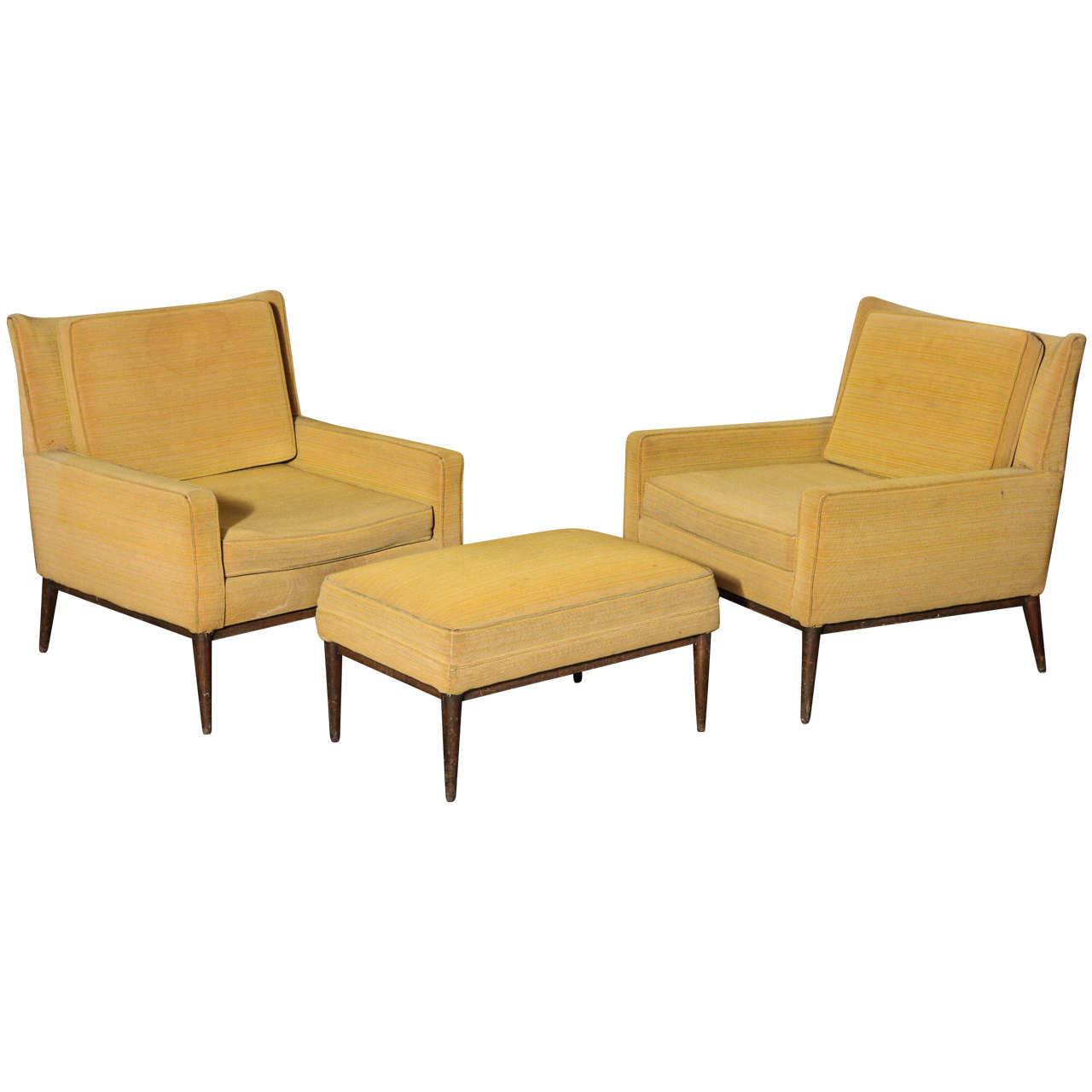 Paul McCobb Lounge Chairs and Ottoman at 1stdibs