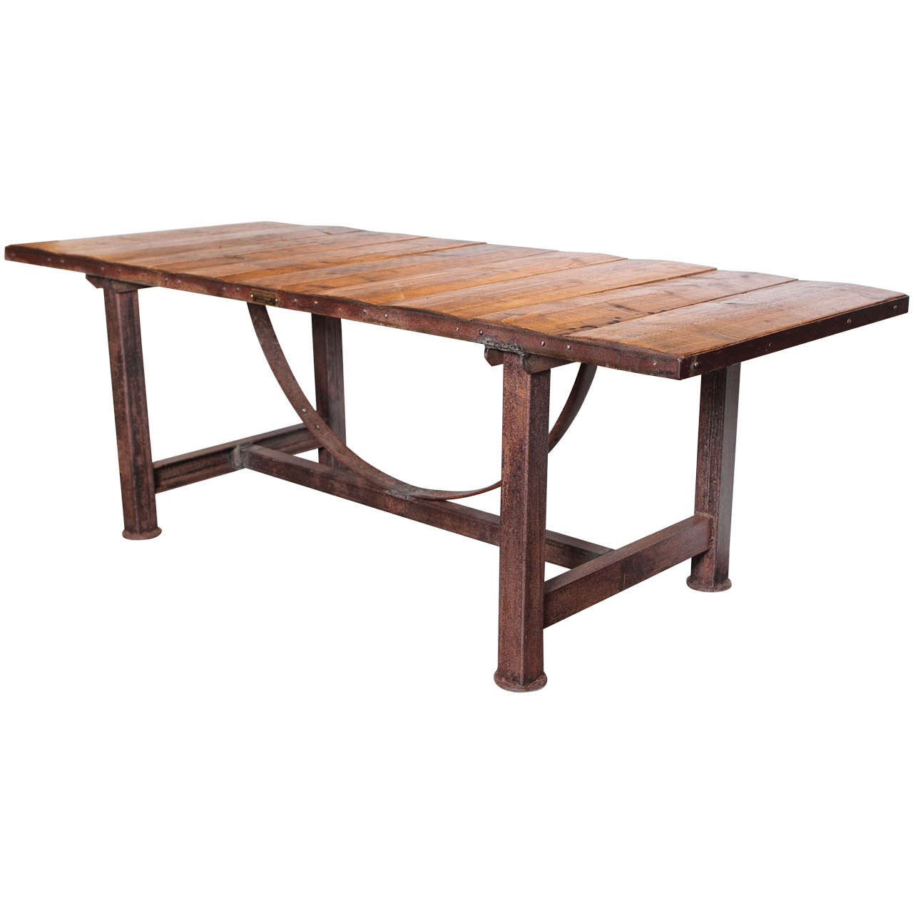 Industrial pine dining table from limagne france at 1stdibs for Pine dining room table