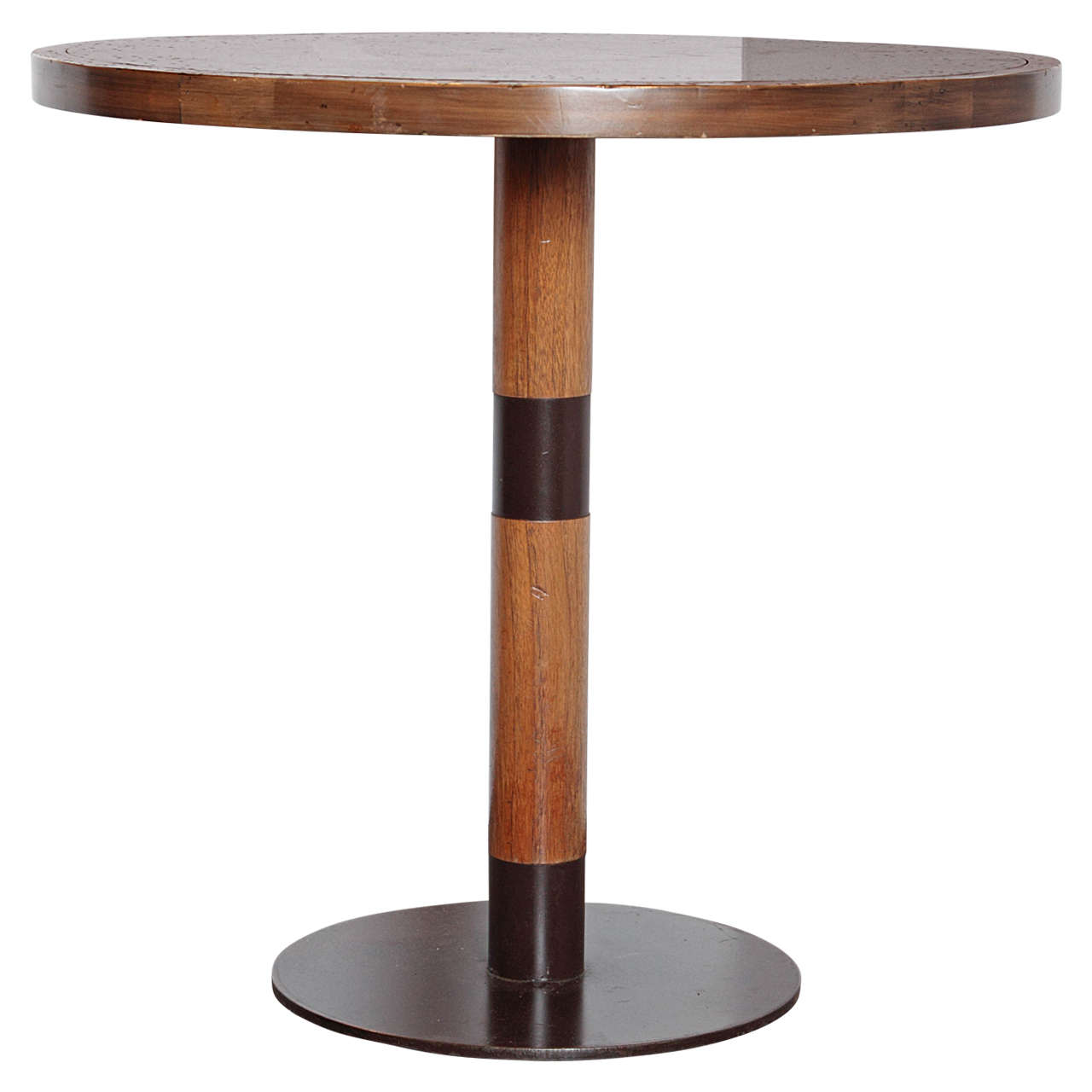 Petrified wood side table - Vintage Spanish Wood And Iron With Zinc Top Bistro Tables