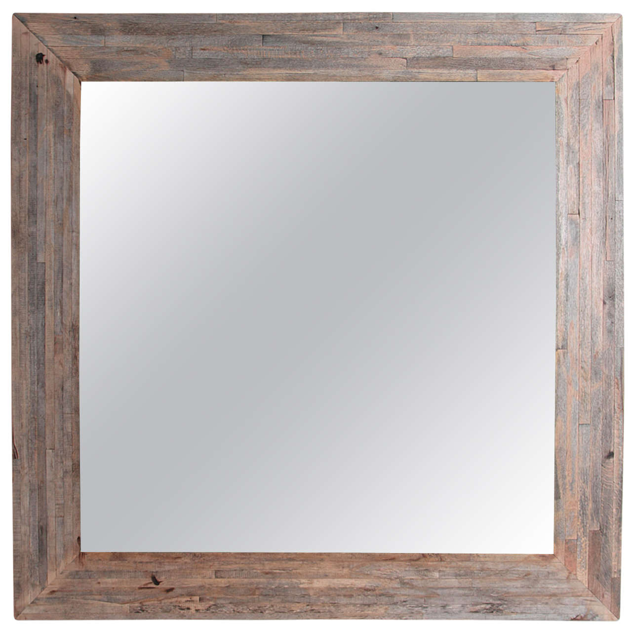 Transitional large maple wood wall mirror 60 sq at 1stdibs for Large wall mirror wood frame