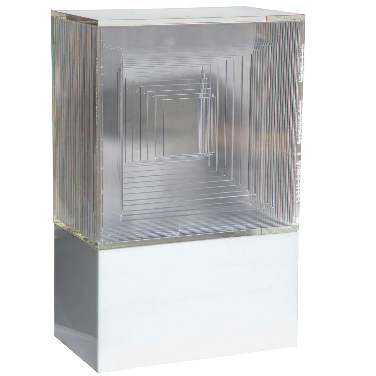Neal Small Op Art White and Clear Lucite Light Table Lamp Sculpture, 1970s