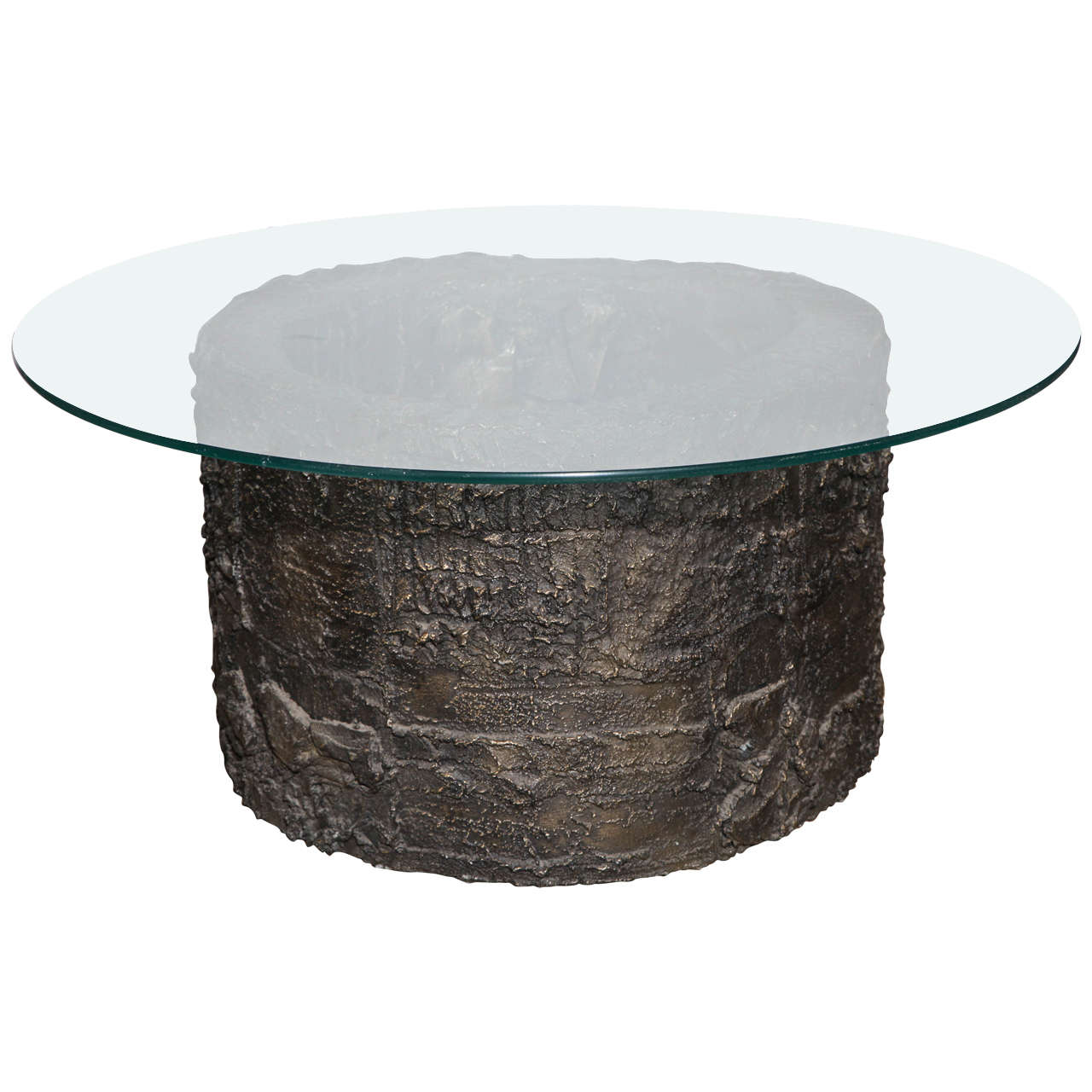 Paul Evans for Directional Sculpted Round Bronze Resin Brutalist Coffee Table