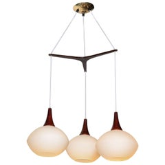 Uno and Osten Kristiansson for Luxus Frosted Triple Globe Hanging Pendant, 1960s