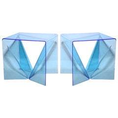 "Pair Neal Small Clear Blue Lucite Op Art ""Origami"" Occasional Tables"