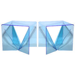 "Pair of Neal Small Blue Lucite ""Origami"" Op Art Occasional Tables"