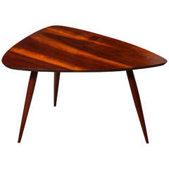 Phillip Lloyd Powell Black Walnut Chevron Occasional Table, Circa 1960