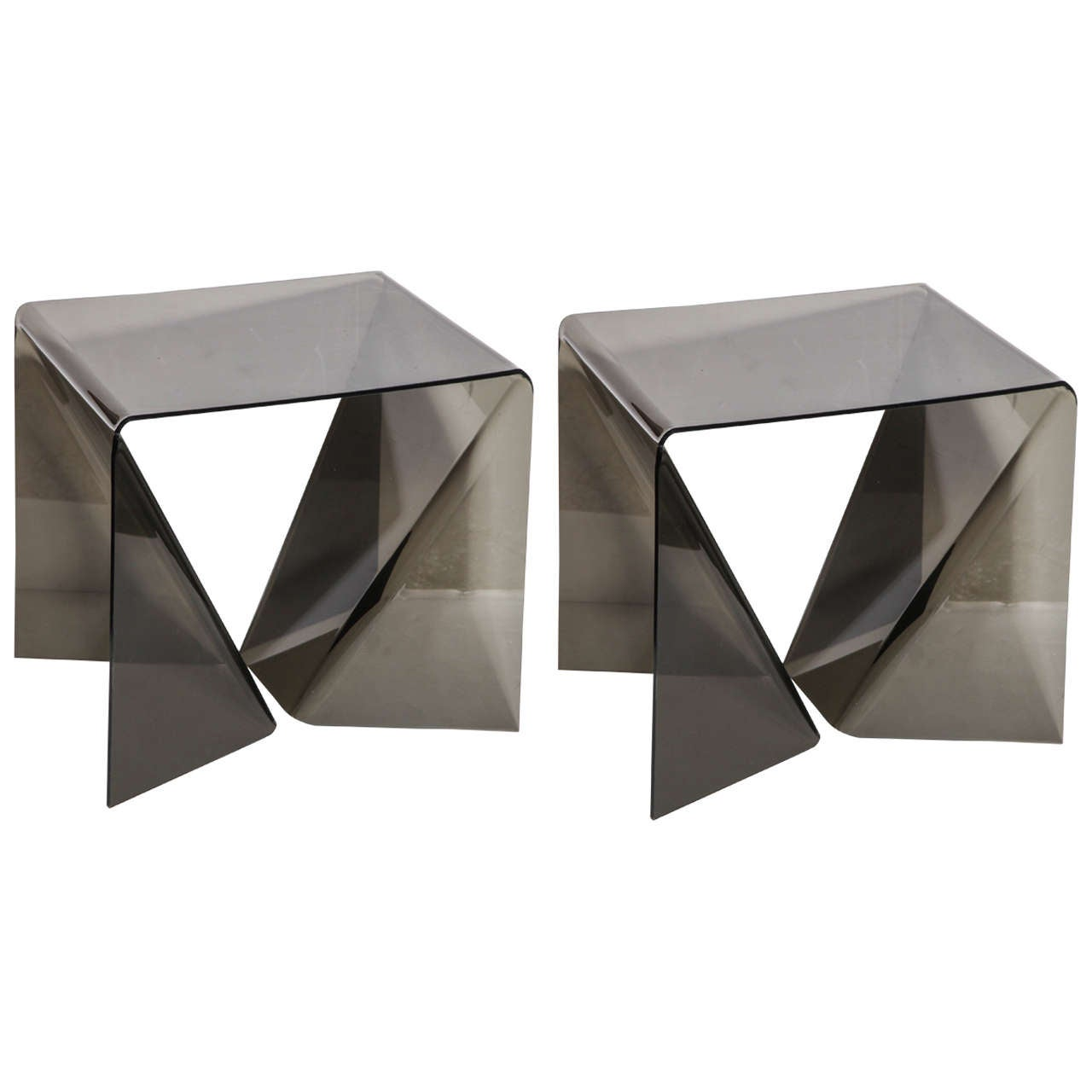 """Pair of Neal Small Translucent Smoky Lucite Pop Art """"Origami"""" Occasional Tables"""